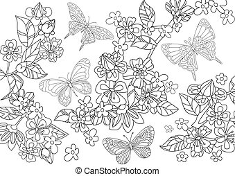 intorno, ciliegia, volare, albero, colo, farfalle, fioritura, tuo
