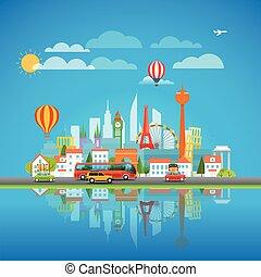 intorno, concept., vacanza, illustrazione, vettore, mondo viaggiante
