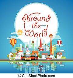 intorno, concept., vacanza, illustrazione, vettore, viaggiante, viaggiare, mondo