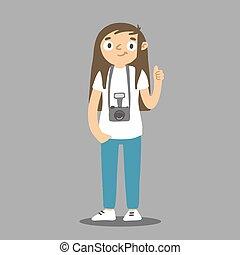 intorno, macchina fotografica, donna, cartone animato, appendere, photocamera., neck., fotografo, vettore