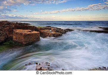 intorno, marea, pietre, movimenti