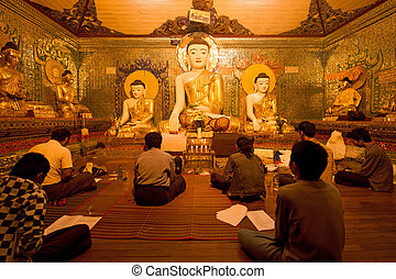 intorno, myanmar, pregare, yagon, pagoda, buddismo, shwedagon