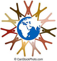 intorno, persone, simbolo, pianeta, diverso, mani, terra, anello, presa