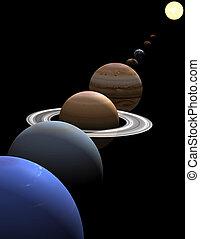 intorno, sole, sistema, solare, pianeti, allineamento