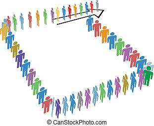 intorno, spazio, molti, persone, lungo, linea, copia, blocco