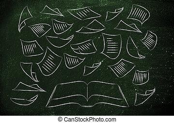 intorno, volare, libro, chiave, educazione, pagine