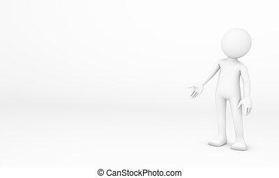 introdurre, mano, punto, così, 3d, umano
