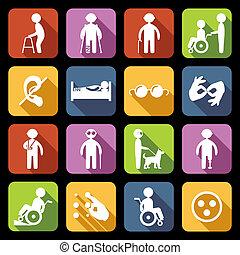 invalido, appartamento, set, icone