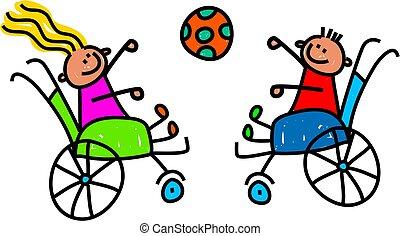 invalido, bambini, giocando palla