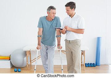 invalido, discutere, terapeuta, paziente, rapporti