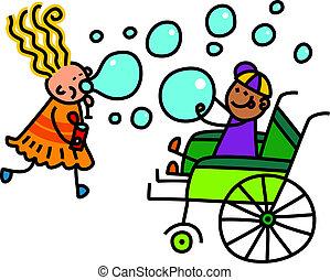 invalido, gioco, bolla, sapone