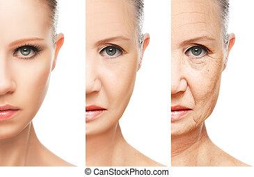 invecchiamento, concetto, isolato, cura, pelle