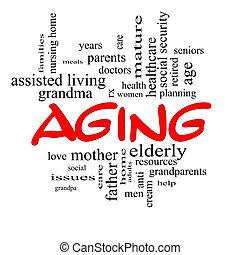 invecchiamento, concetto, parola, cappucci, nuvola, rosso