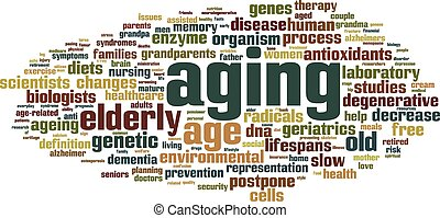 invecchiamento, parola, nuvola
