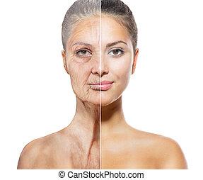 invecchiamento, vecchio, concept., giovane, skincare, facce, donne