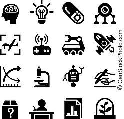 &, invenzione, set, icona, ricerca