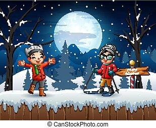 inverno, bambini, esterno, gioco