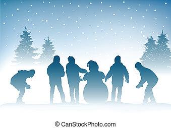 inverno, bambini