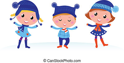 inverno, carino, isolato, gruppo, bambini, bianco