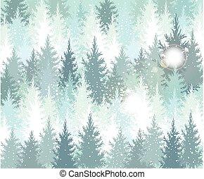 inverno, fondo, foresta