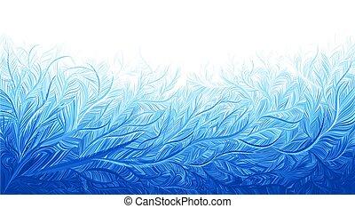 inverno, illustrazione, gelo, blu, fondo., vettore, ghiaccio, natale