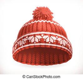 inverno, lavorato maglia, vettore, hat., 3d, rosso, icona