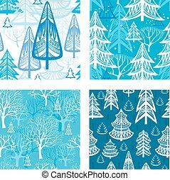inverno, modello, foresta, seamless