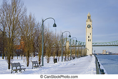 inverno, orologio, parco, neve, torre, fiume, montreal