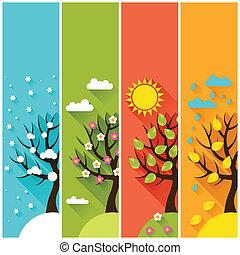inverno, verticale, primavera, alberi., autunno, bandiere, estate