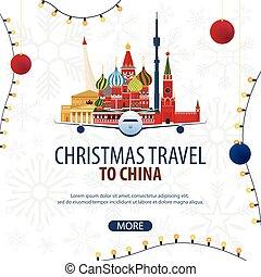 inverno, viaggiare, travel., moscow., vettore, russia, natale, illustration.