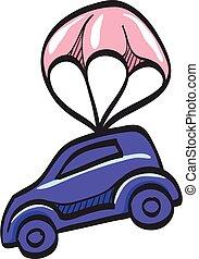 investimento, colorare, drawing., trasporto, automobile, paracadute, protezione, icona, assicurazione