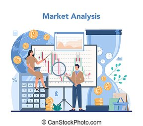 investimento finanziario, concept., casato, analysis., introduca mercato commerciante