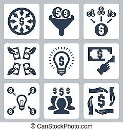 investire, set, vettore, crowdfunding, icone