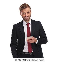 invio, elegante, uomo affari, ritratto, email, felice