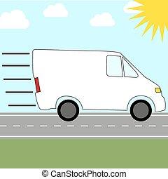 invio, furgone, servizio corriere, -, digiuno, sentiero per cavalcate, colorito, icona