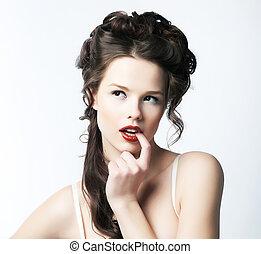 invitante, &, sofisticazione, rifinitura, puro, ritratto, woman., seducente, sexy.