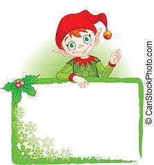 invitare, &, elfo, posto, scheda natale