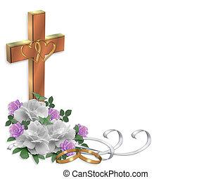 invito, croce, matrimonio, cristiano