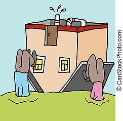 ipoteca, persone, giù, loro, upside, casa