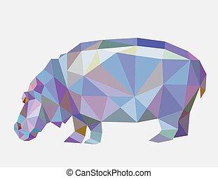 ippopotamo, triangolo, poligono, basso