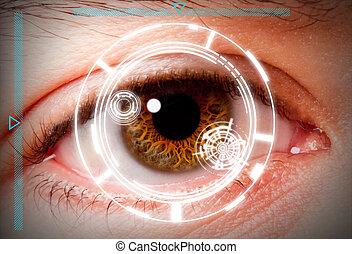 iride, sicurezza, biometric, selezione, scansione