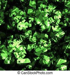 iridescente, projection., metallico, scuro, stelle, sfondo verde