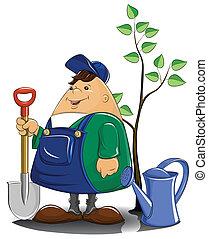 irrigazione, albero, vanga, giardiniere, lattina