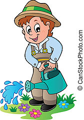 irrigazione, cartone animato, giardiniere, lattina