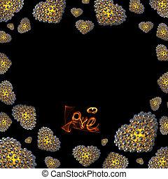 iscrizione, amore, oro, disegno, tuo, isolato, smoke., scritto, nero, felice, copyspace, fuoco, fondo, giorno, fatto, illustration., valentines, metallo, sfere, cuori, 3d, o