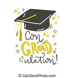 iscrizione, congraulation., illustrazione, cap., vettore, graduazione, composizione