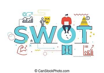 iscrizione, debolezze, threats), illustrazione, swot(strengths, opportunità, parola