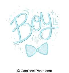iscrizione, disegno, vettore, adesivo, relativo, calligrafia, design., boy., elemento, invito, foil., acquarello, bambino, oro, doccia