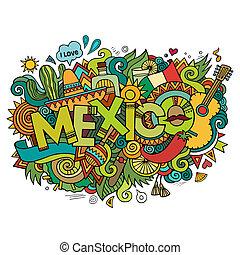iscrizione, elementi, messico, mano, fondo, doodles