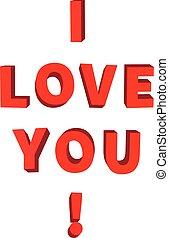iscrizione, lei, amore, bianco rosso, 3d